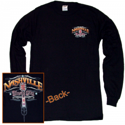 Nashville Long Sleeve Black Tee- Front Left Chest